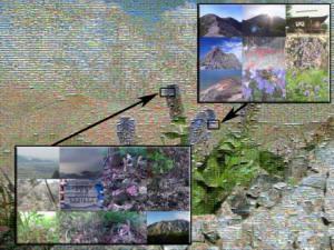July 23, 2010 381D - Near Mt. Shiroumadake - <I>Lagotis glauca</I> and Mountain - Mosaic Annotated