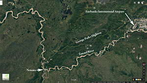 Map - Fairbanks to Nenana, Alaska