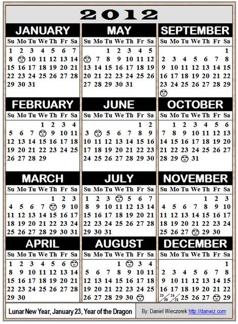 2012 Wallet-Sized Calendar - No Holidays, 6 Calendars on an A4 size