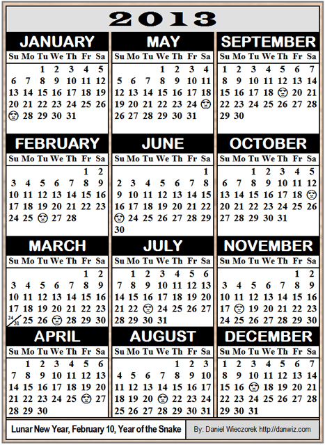 2013 Wallet-Sized Calendar - No Holidays, 6 Calendars on an A4 size