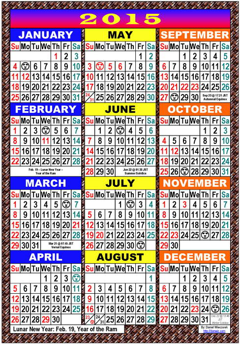 2015 Usa Japanese International Calendars Pdf Kindle And Print