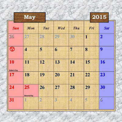 Japan Outdoor Scenes 2015 Calendar - May Page - U.S.A. National Holidays