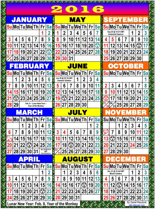 2016 Usa Japanese International Calendars Pdf Kindle And Print