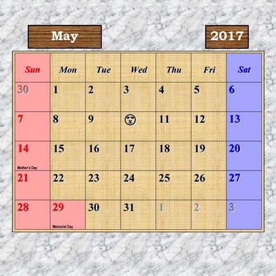 2017 Calendar - Japan Outdoor Photos - May Page - U.S.A. National Holidays