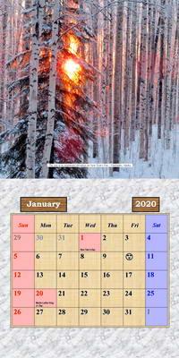 2020 Alaska Outdoor Photos Calendar - January Page
