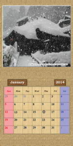 2014 Photo Calendar Showing Japan Mountains and Mountain Flowers - January Page