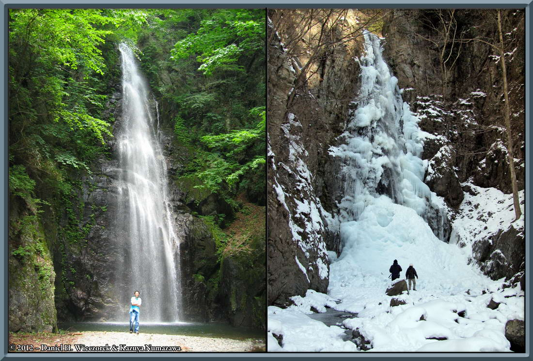 Hyakuhiro Waterfall Summer and Winter Contrast Photos