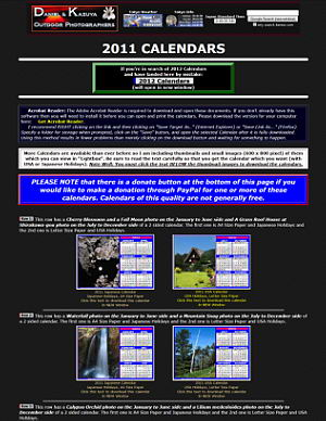 2011 Japanese, International and USA Version Calendars