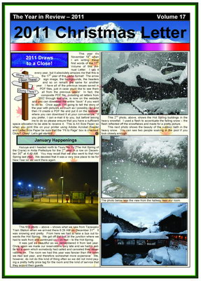 The 2011 Christmas Newsletter - in PDF Format