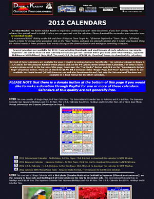 2012 Japanese, International and USA Calendars