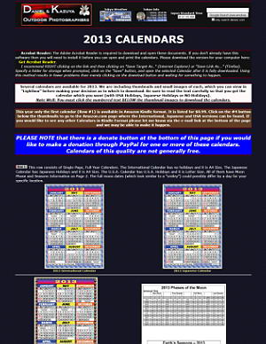 2013 Japanese, International and USA Calendars