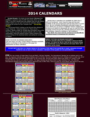 2014 Japanese, International and USA Calendars