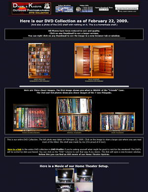 February 22, 2009 Update - DVD Collection and Home Theater Page