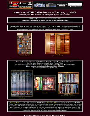 January 1, 2013 Update - DVD Collection and Home Theater Page