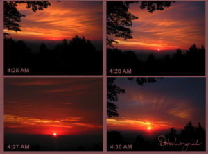 A 4-Photo Collage of Mt. Hinode Sunrise, June 24