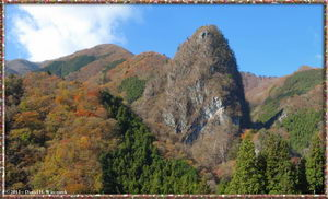 2-Shot Panorama of Inamura Rock & Fall Colors - Higashi Nippara