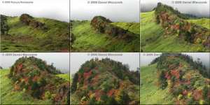 6 Photo Collage - Fall Colors on a Ridge at Kusatsu, Oct 2009 (680 KB JPG File)